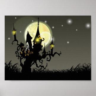 Fondo de la noche de la Luna Llena de Halloween Póster