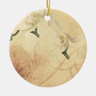 Fondo de la orquídea del vintage adorno de cerámica