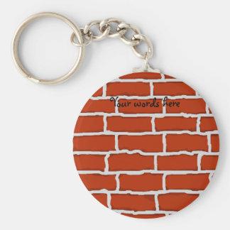 Fondo de la pared de ladrillo de Brown Llavero Redondo Tipo Chapa