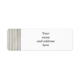 Fondo de la tela del tejido en cable etiqueta de remitente