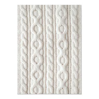 Fondo de la tela del tejido en cable invitación 12,7 x 17,8 cm