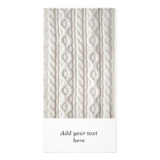 Fondo de la tela del tejido en cable tarjetas personales con fotos