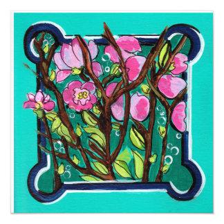 Fondo de la turquesa de la flor de cerezo invitación 13,3 cm x 13,3cm