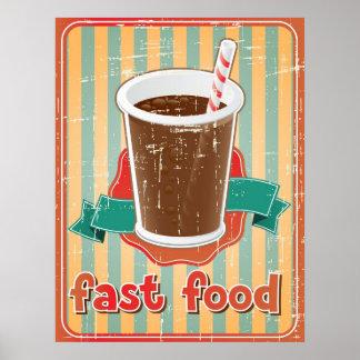 Fondo de los alimentos de preparación rápida con l póster
