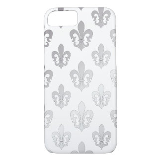 Fondo de plata de la flor de lis /DIY de Funda iPhone 7