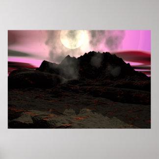 Fondo del acuario de la lava del volcán póster