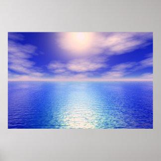 Fondo del acuario de la salida del sol póster