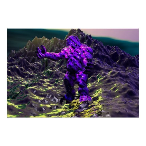 Fondo del acuario del hombre de Orc Poster