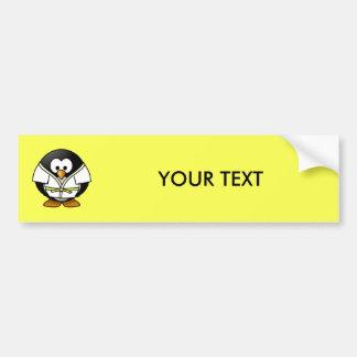Fondo del amarillo del pingüino del judo del pegatina para coche