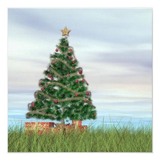 Fondo del árbol de navidad - 3D rinden Invitación 13,3 Cm X 13,3cm