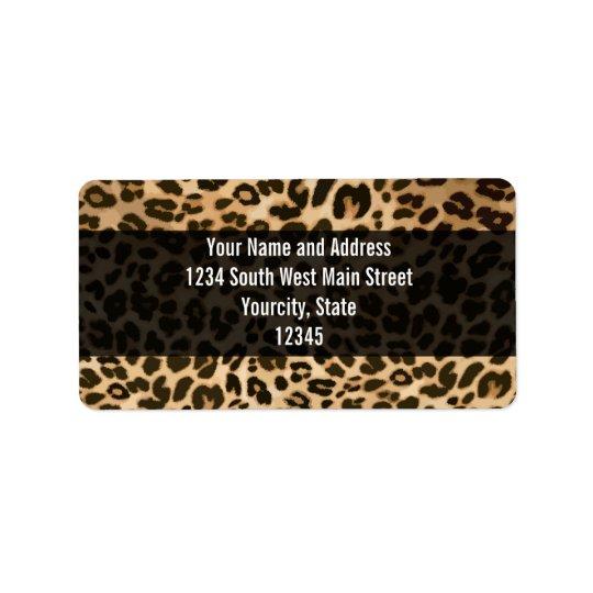 Fondo del estampado leopardo etiqueta de dirección