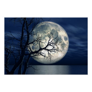 fondo del paisaje 3D con la luna sobre el mar Impresiones