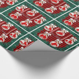 Fondo del rojo de la frontera de la guirnalda de papel de regalo
