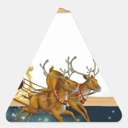 Fondo del trineo del navidad de Santa Pegatinas De Triangulo