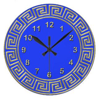 Fondo dominante griego azul de la frontera DIY del Reloj Redondo Grande