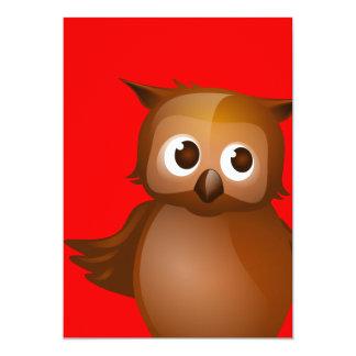 Fondo Editable - búho lindo de Brown Invitación 12,7 X 17,8 Cm