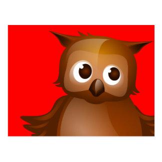 Fondo Editable - búho lindo de Brown Postal