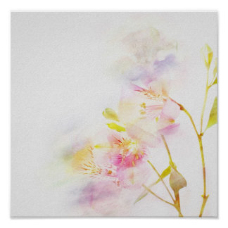 fondo floral con las flores de la acuarela póster