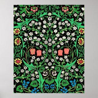 Fondo floral de William Morris, negro jacobeo Póster