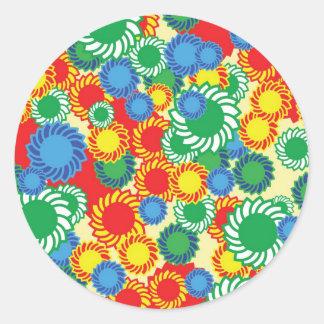 Fondo floral del Hippie Pegatina Redonda