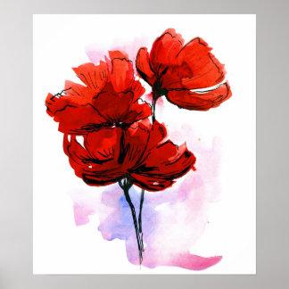 Fondo floral pintado extracto póster