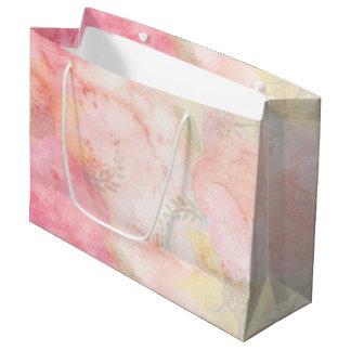 Fondo floral rosado de la acuarela bolsa de regalo grande