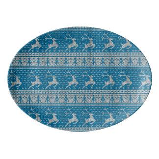 Fondo hecho punto azul bandeja de porcelana