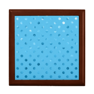Fondo metálico azul del polvo del lunar de la hoja caja de regalo cuadrada grande
