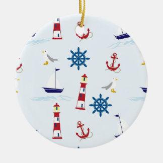 Fondo náutico del faro adorno navideño redondo de cerámica