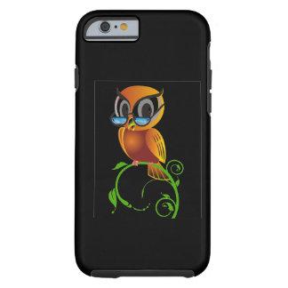 Fondo negro de los vidrios sabios del búho w funda para iPhone 6 tough