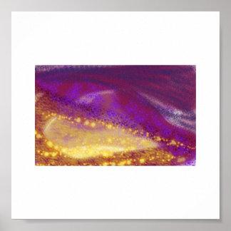 Fondo púrpura del blanco de la noche póster