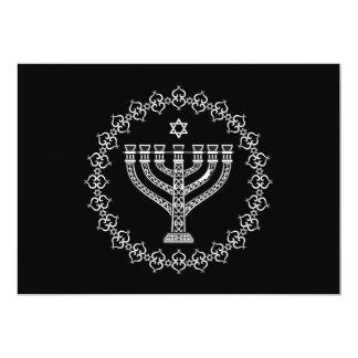 Fondo religioso judío con Menorah Invitación 12,7 X 17,8 Cm