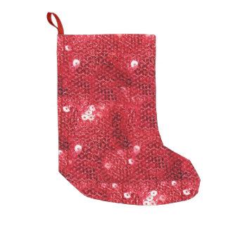 Fondo rojo de la Lentejuela-Mirada Calcetín De Navidad Pequeño