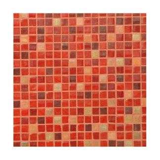 Fondo rojo de teja de mosaico impresión en madera