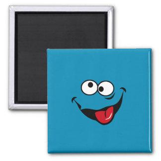 Fondo sonriente divertido del azul del dibujo anim iman para frigorífico