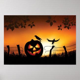 Fondo temático asustadizo de Halloween Póster