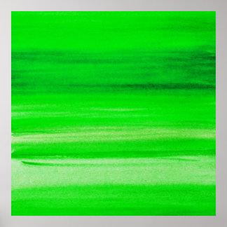 Fondo verde de neón del extracto de la acuarela póster