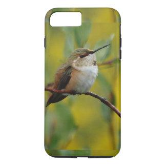 fondo verde lindo del amarillo del colibrí funda iPhone 7 plus