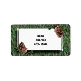 Fondo w/Tag del árbol de navidad Etiquetas De Dirección