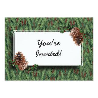 Fondo w/Tag del árbol de navidad Invitacion Personal