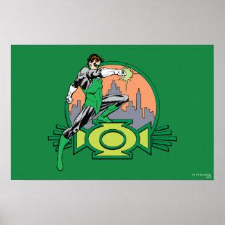 Fondo y logotipo verdes de la ciudad de la lintern póster