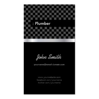 Fontanero - a cuadros negro elegante plantilla de tarjeta de visita