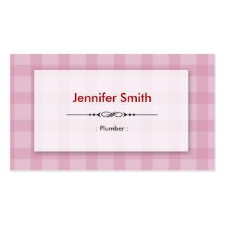 Fontanero - cuadrados rosados bonitos tarjetas de visita