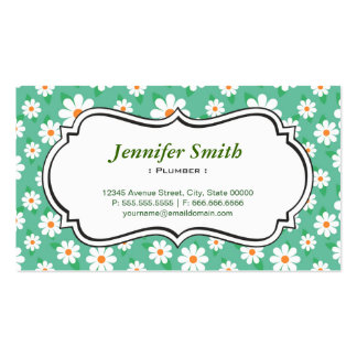Fontanero - margarita verde elegante tarjetas de visita