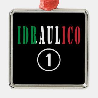 Fontaneros italianos: Uno de Idraulico Numero Adorno Cuadrado Plateado