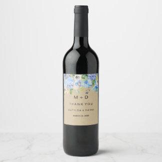 Foral azul rústico le agradece etiqueta del vino