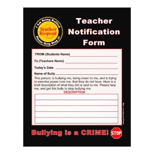 Forma de la notificación del profesor para tiraniz tarjeta publicitaria