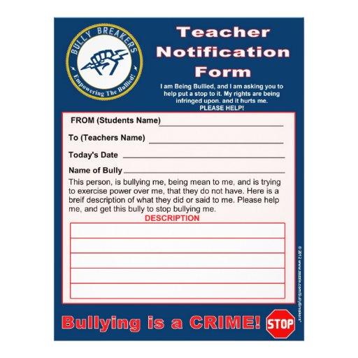 Forma de la notificación del profesor para tiraniz tarjetones