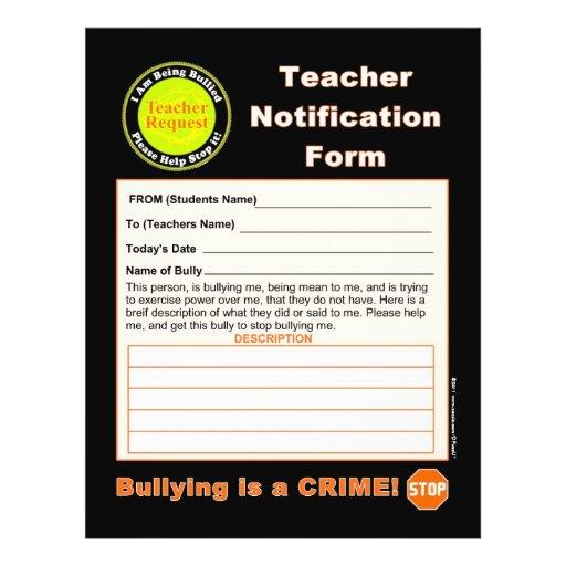 Forma de la notificación del profesor para tiraniz tarjetas informativas