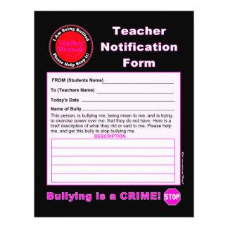 Forma de la notificación del profesor para tiraniz folleto 21,6 x 28 cm